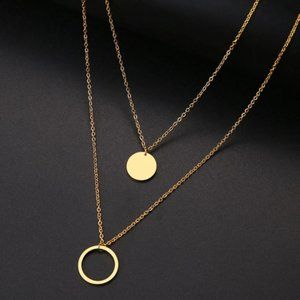 Dainty Double Round Necklace